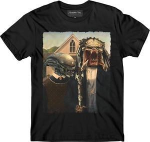 Xenomorph T-shirt Predator T-shirt Mens Round Neck Short Sleeves Bottoming