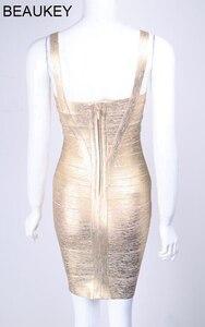 Image 5 - BEAUKEY Metallic Gold Silver Bandage Dress Elastic Sheath Spaghetti Strap Foil Women Party Mini Short Sexy Bandage Dress Silver