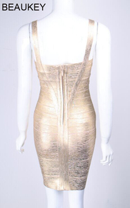 Image 5 - Beaukey ouro metálico prata bandagem vestido elástico bainha espaguete cinta folha feminina festa mini curto sexy vestido bandagem prata