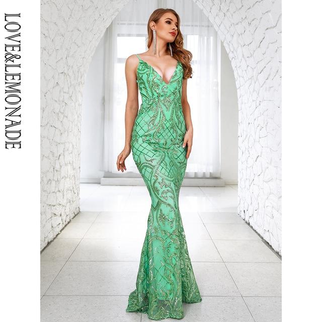 LOVE&LEMONADE Sexy Deep V-Neck Open Back Light Green Sequins Bodycon Bridesmaid Maxi Dress LM81225-2 4