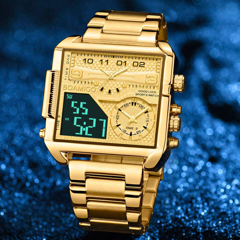BOAMIGO 2021 New Top Brand Luxury Fashion Men Watches Gold Stainless Steel Sport Square Digital Analog Big Quartz Watch for Men