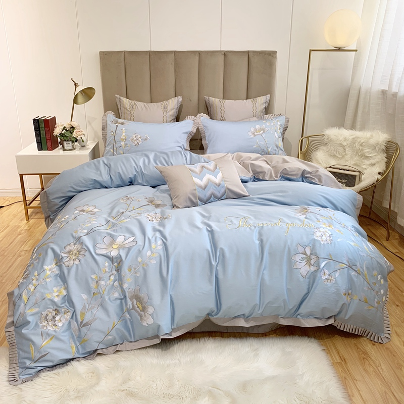Luxury Yellow Egyptian Cotton Bedding Set Queen King Embroidery Duvet Cover Bed Sheet/Linen Pillowcases Decorative Pillow
