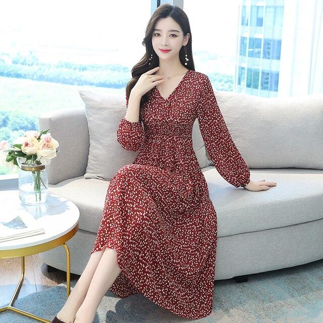 Vintage Floral Chiffon Boho Midi Dress Autumn Winter Plus Size Long Sleeve Dress Elegant Women Bodycon Party Maxi Vestidos