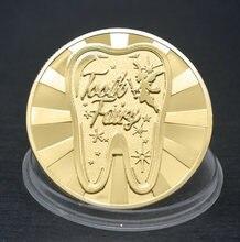 3 estilos de dente fada dinheiro ouro prata chapeado moeda comemorativa criativo crianças presentes mudança de dente lembrança da moeda