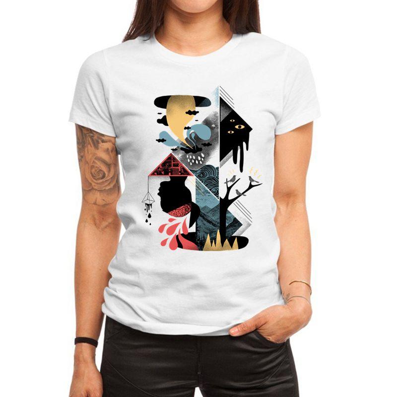 Stereo Abstract Design Print Women T Shirt Summer Fashion Short Sleeve O Neck T-shirt Ladies White Tops Tee Shirt