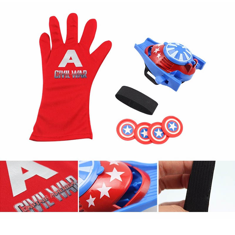 5 стилей ПВХ 24 см Бэтмен перчатка Фигурка Человека-паука пусковая игрушка для детей подходит Человек-паук косплей игрушки - Цвет: America Launcher