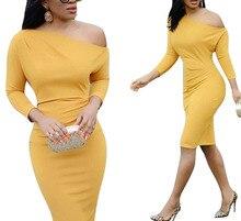 2019 Women Sexy Off-Shoulder Bodycon Dress Female Long Sleeve Pencil Dress Autumn Party Dress Vestido exaggerate bell sleeve pencil dress