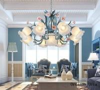 Candelabro de Rosa Azul Mediterráneo sala de estar comedor dormitorio jardín coreano lámpara de flores LED