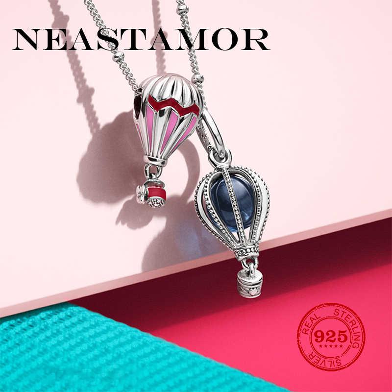 W nowym stylu różowo niebieski gorący balon dmuchany urok 925 kolor srebrny koraliki Charms Fit oryginalny bransoletka Pandora bransoletki tworzenia biżuterii