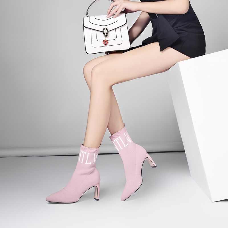 Bağlantı köprüsü streç örme ayak bileği çorap çizme moda kadın sivri burun kış üzerinde kayma parti ayakkabıları seksi garip yüksek topuklu moda çizmeler