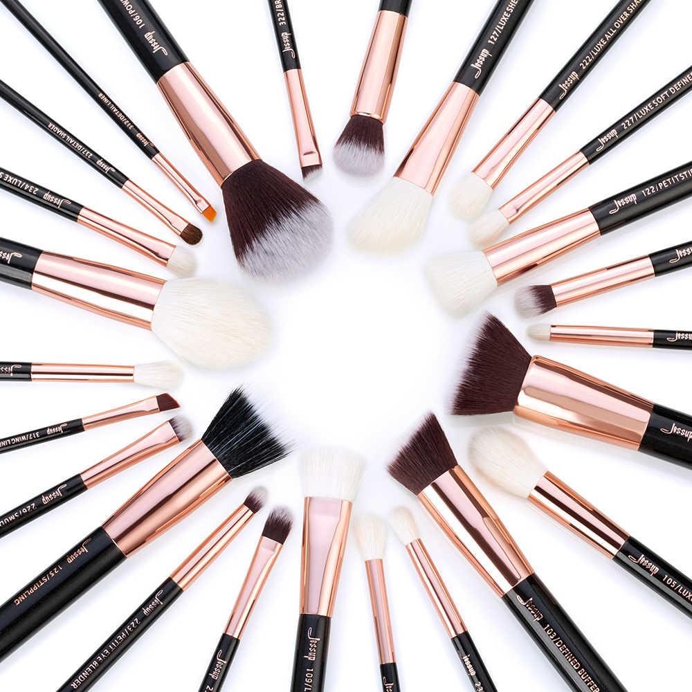 Jessup rosa ouro/preto pincéis de maquiagem conjunto beleza fundação pó sombra compõem escova 6 pces-25 pces