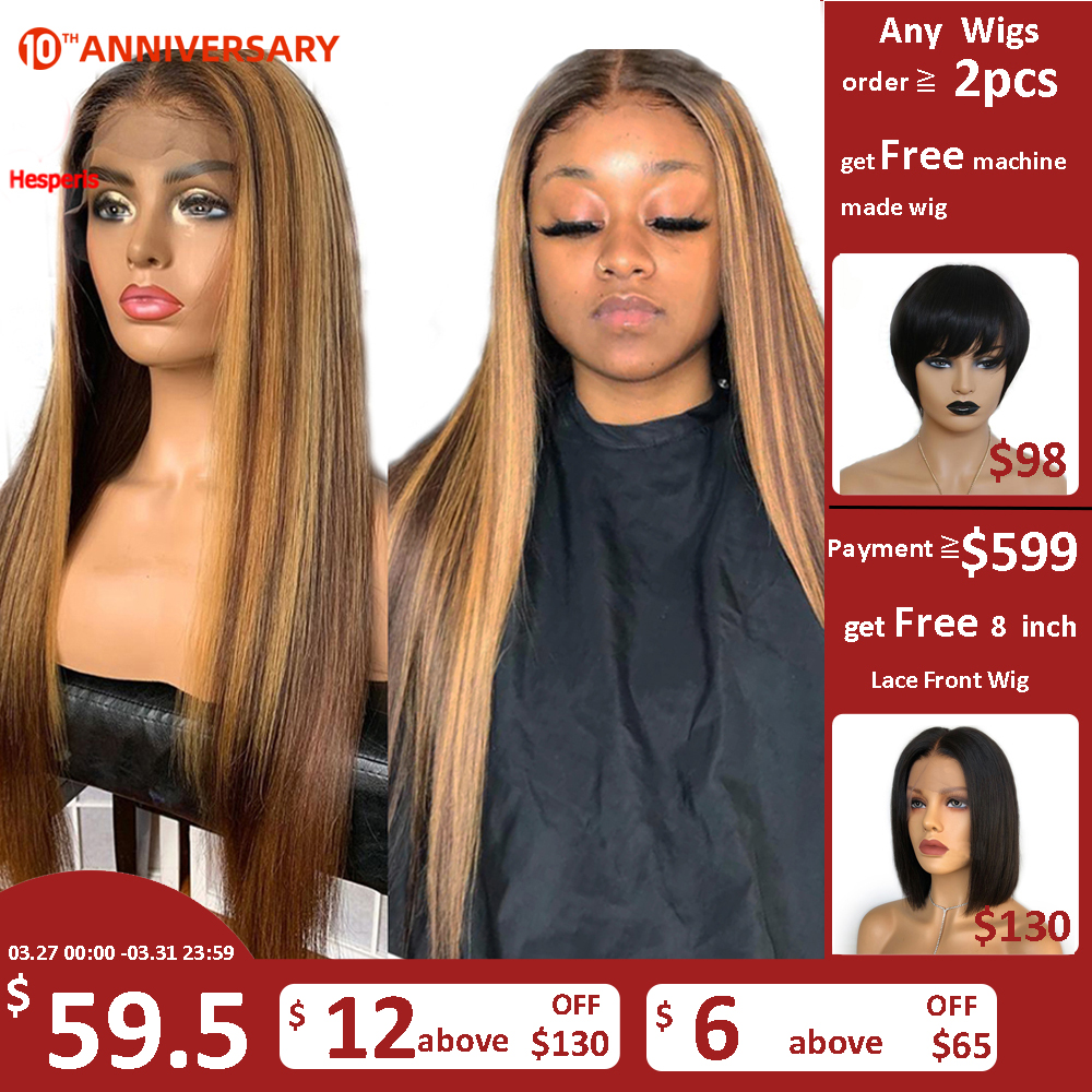 Hesperis 360 Lace Frontal Wig Pre Plucked 13x6 Lace Front Human Hair Wigs Brazilian Remy Colored Highlight Blonde Lace Wigs