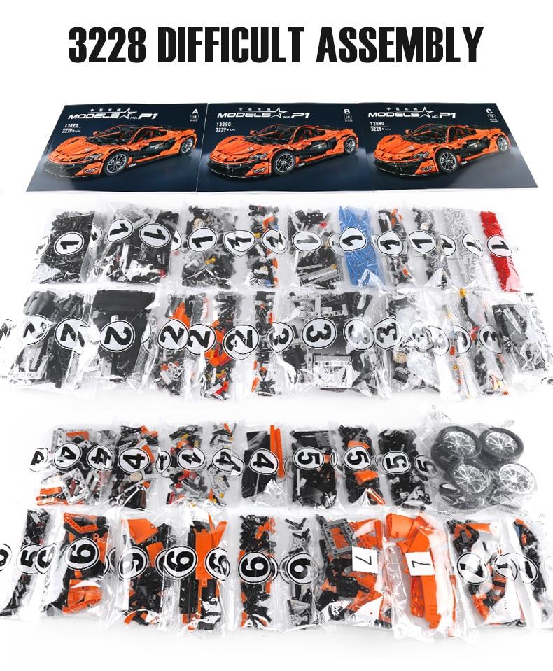 1 to 8 ratio 13090 Technic Series McLaren P1 Orange Racing Car Set APP RC Model Building Blocks Power Motor Function Toys 20087 36