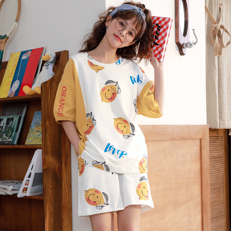 Image 2 - Caiyier New 2020 Cute Duck Print Pajamas Set Cotton Short Sleeve Sleepwear Summer Women Nightwear Casual Cosy Girls Home SuitsPajama Sets   -