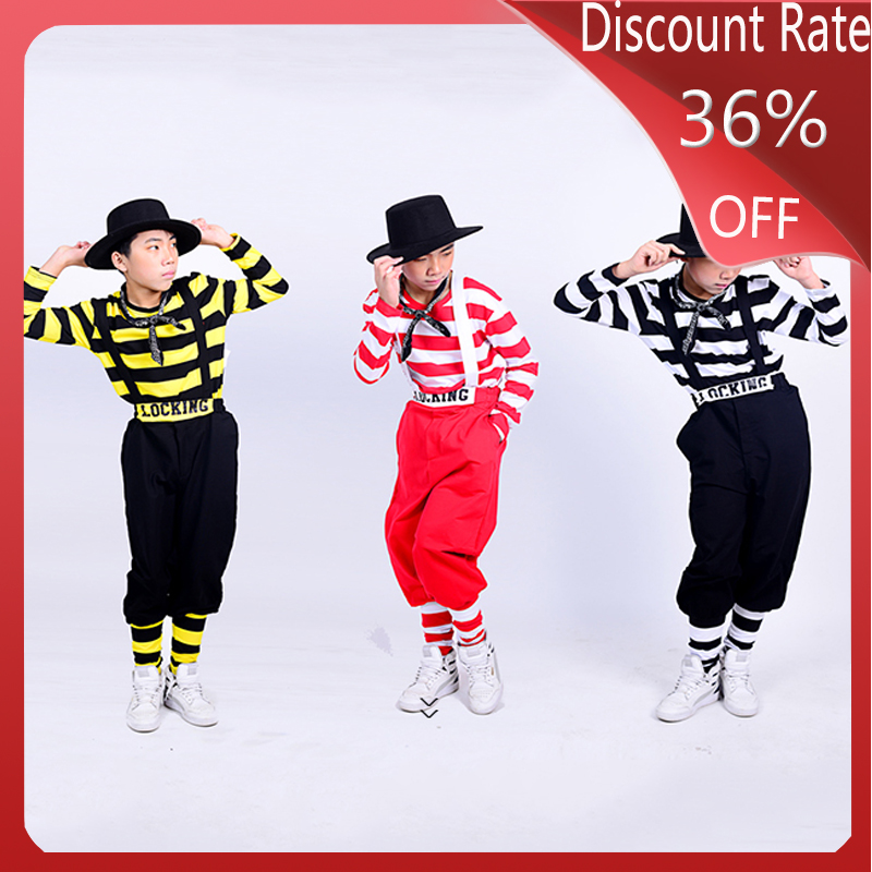 Children Locking Hip-Hop Dance Costume Boys Jazz Dance Streetwear Ballroom Hiphop Stripe Suit Performance Stage Outfits DQS3657