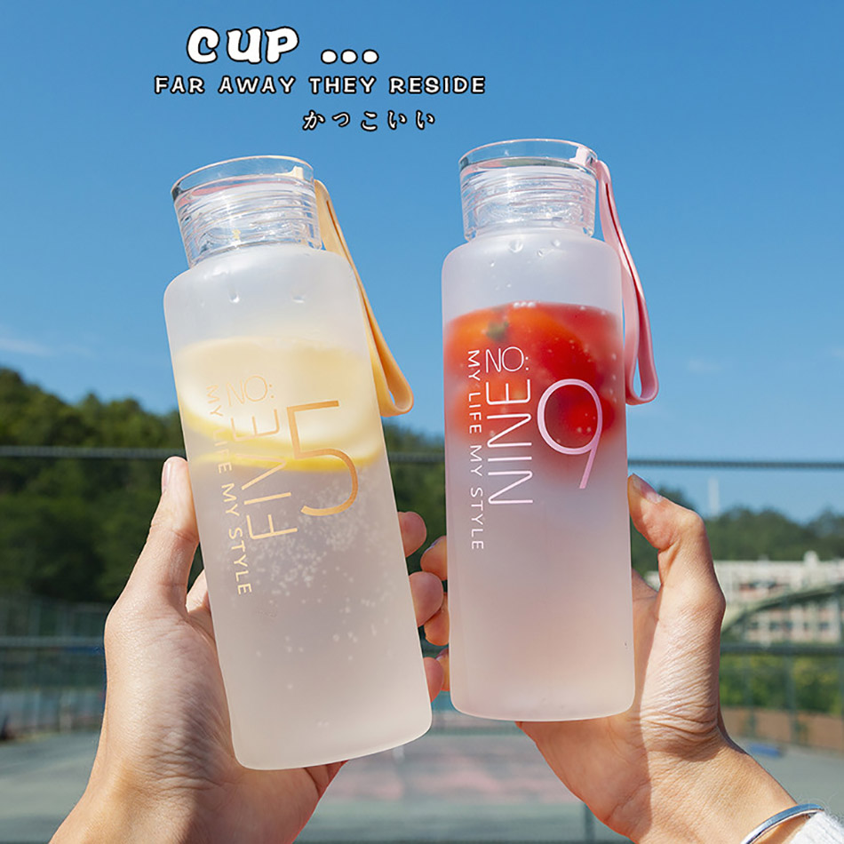 Frosted Glass Water Bottle Healthy Water Container Lemon Drink Bottles Outdoor