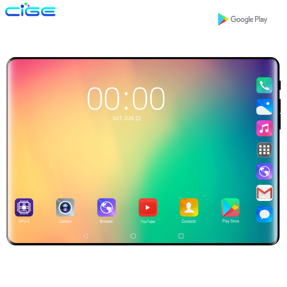 CiGe 10.1' Tablets Android 9.0 MTK8752 Octa Core Ram 6GB ROM 128GB Dual SIM Camera Tablet PC Wifi GPS Bluetooth Phone Call