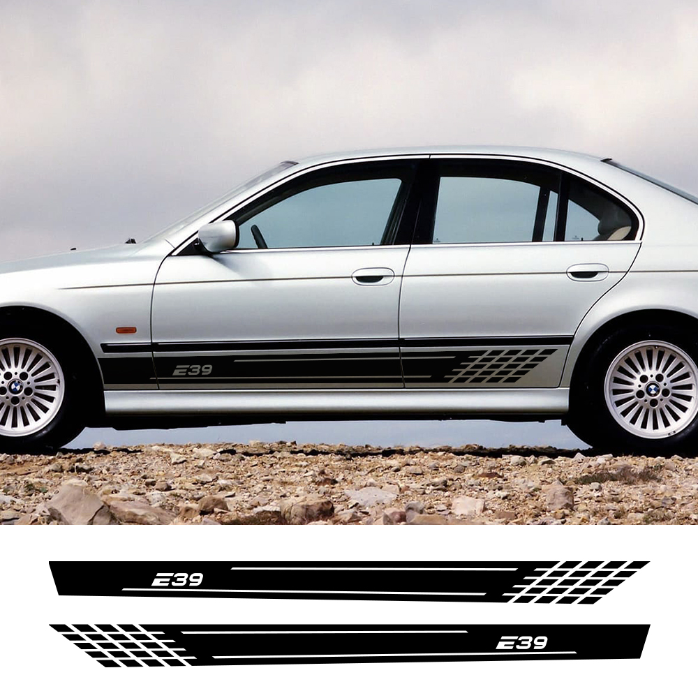 2PCS Sticker Auto Door Side Reflective Vinyl Film Decal Automobile DIY Decoration Car For BMW E39 Styling Car Tuning Accessories