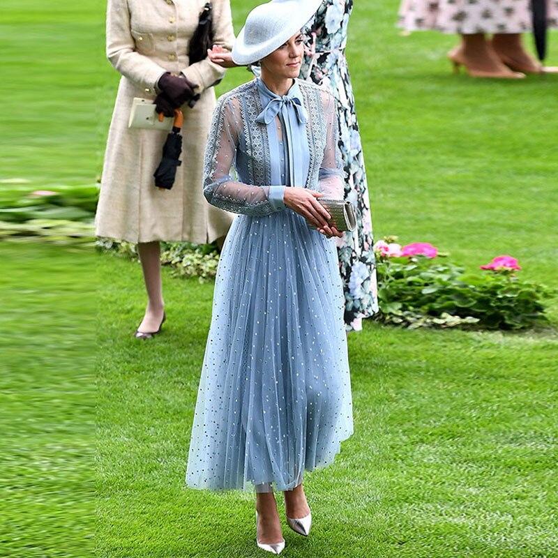 Elegant Temperament Party Banquet Dress Female Women's Sky Blue Mesh Patchwork Lace Trim Long-sleeved Dress Dot Embroidery Dress