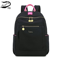 FengDong fashion black pink waterproof nylon school backpack for girls anti theft backpack female minimalist travel backpack