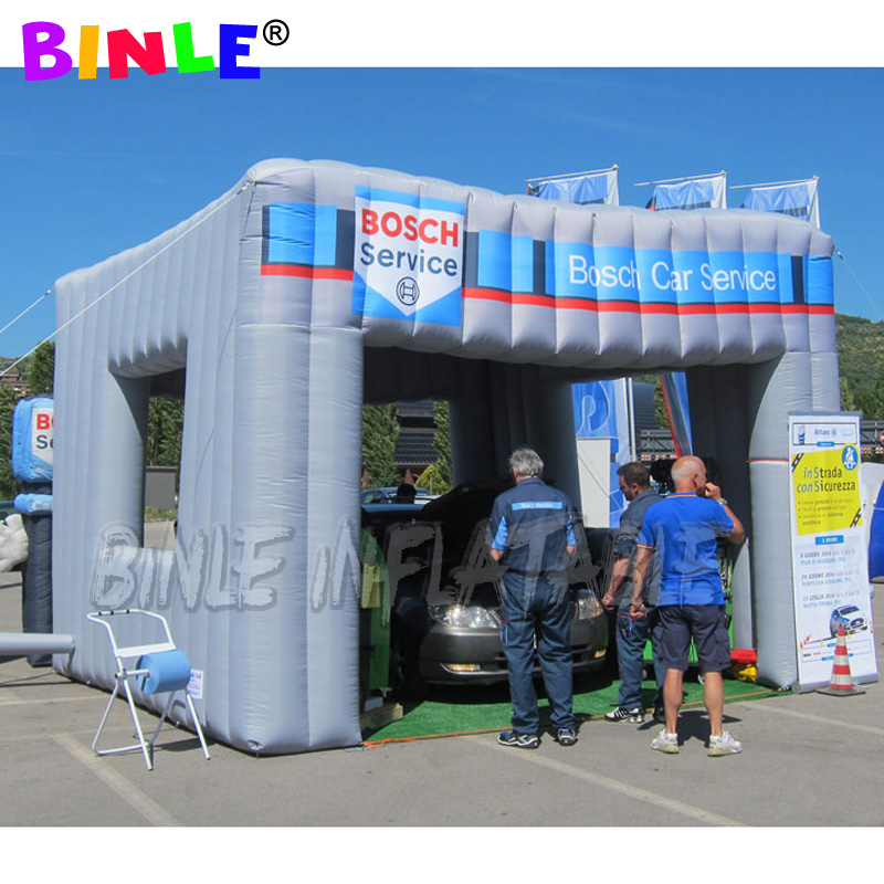 Custom grey 5x5x3.5m inflatable square cube <font><b>tent</b></font>,mobile service <font><b>car</b></font> <font><b>garage</b></font> <font><b>tent</b></font> for outdoor promotion image