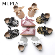 New Infant Baby Boy Girl Glitter Trainers Soft Sole Pram Shoes For Newborn Leopard Bow Baby First Walkers Shoes Infant Shoes