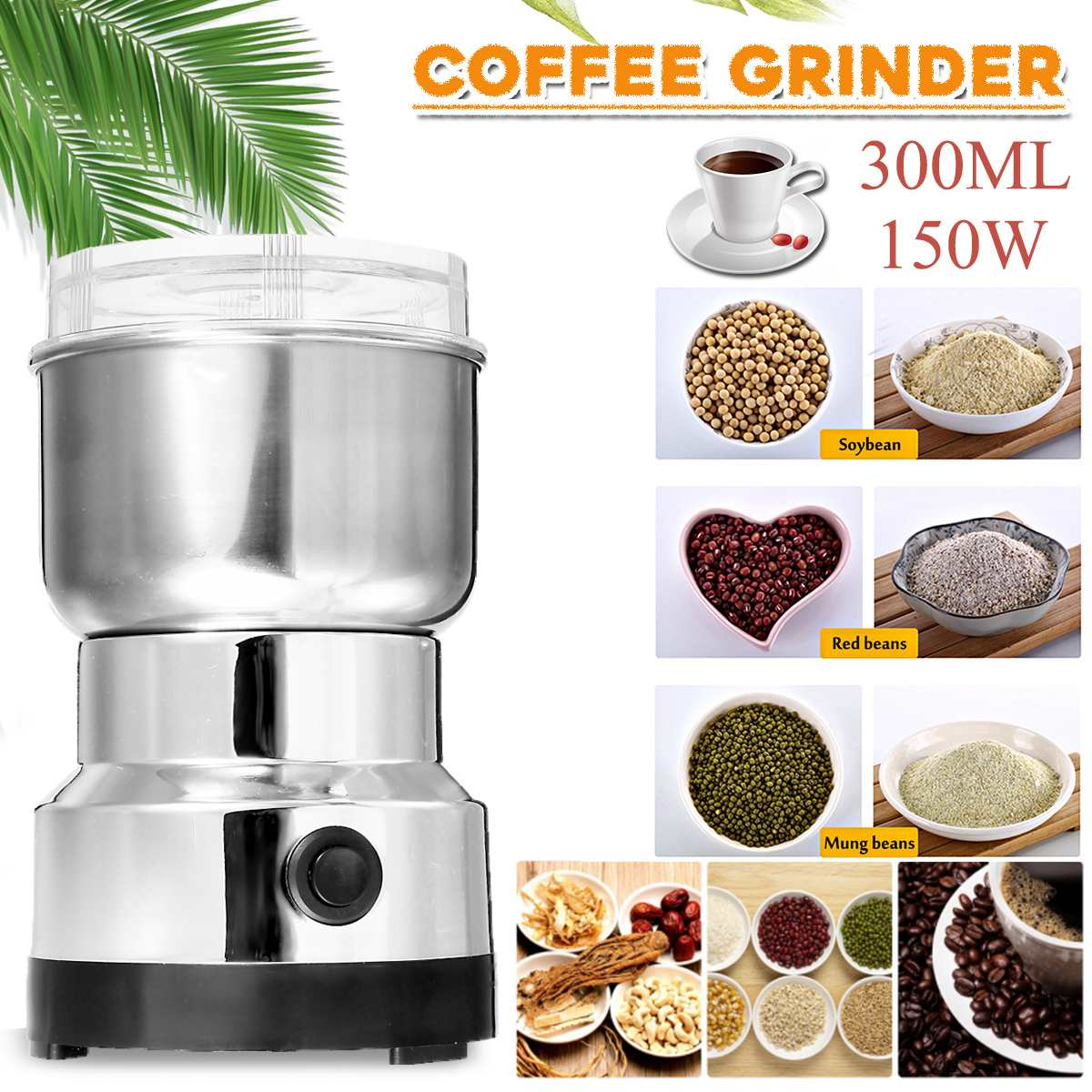 Electric Coffee Machine Bean Grinder Blenders 150W 300ml For Home Kitchen Office Stainless Steel 220V For Grains Spices Hebals
