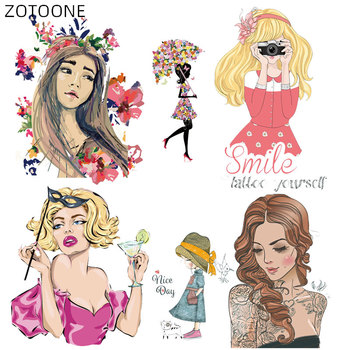 ZOTOONE Iron on Fashion Girl Patches for Kids Flower Patch for Clothing Letter Stickers DIY Heat Transfers Clothes Appliques H image