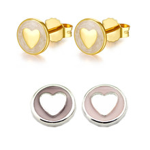Sweet Statements Stud Earrings Fashion 925 Sterling Silver Earrings for Women Charm Jewelry Heart Design Round Girls Earings(China)