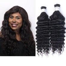 Накладные человеческие волосы с глубокой волной I Tip Microlinks для черных женщин индийские волосы Remy I накладные волосы черного цвета 27 #/99j красн...