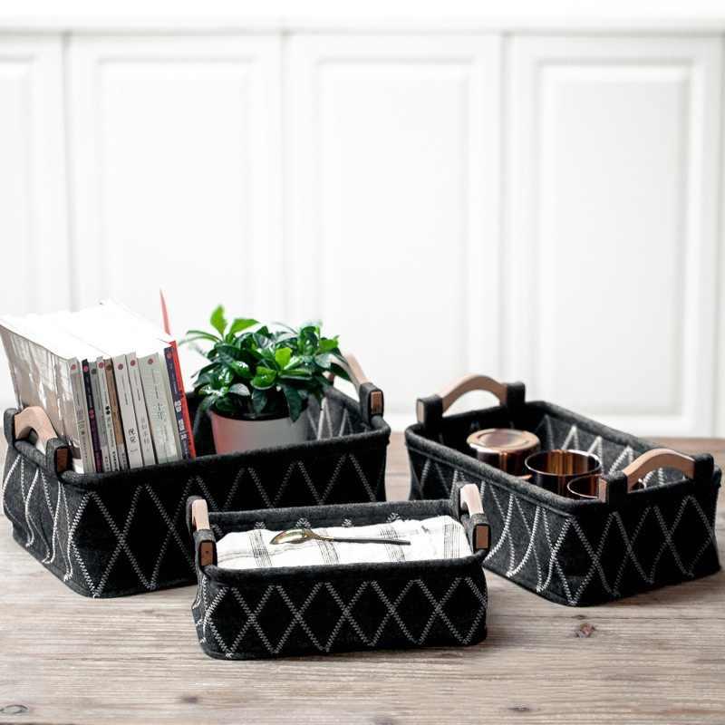 ผ้าตะกร้าสี่เหลี่ยมผืนผ้า Felt สำหรับ Home ห้องนอนแบบพกพาผ้าของเล่นคอนเทนเนอร์แฟชั่นพิมพ์ตะกร้า