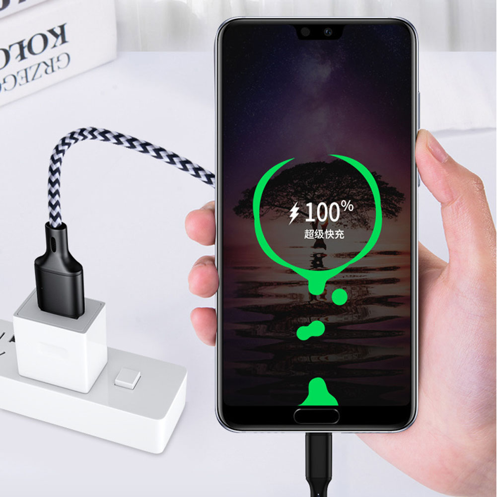 Jetjoy Nylon trenzado 5A Surper carga rápida tipo C cargador de datos USB Cable de carga duradero para Huawei P30 Pro al por mayor 50 piezas - 3