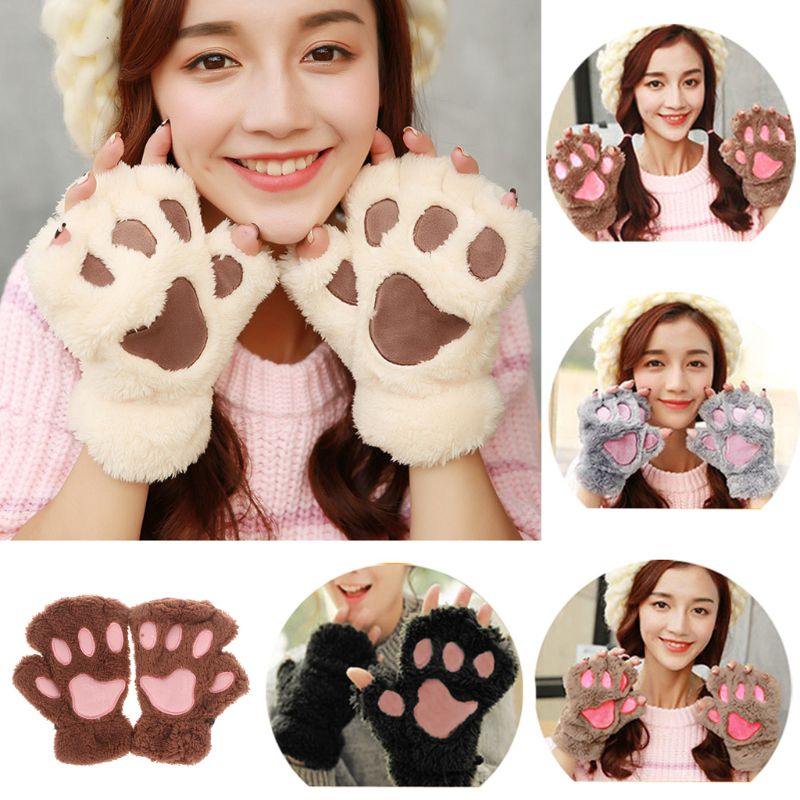 Lovely Women Bear Cat Claw Paw Mitten Plush Gloves Short Finger Half Gloves Ladies Half Cover Female Gloves