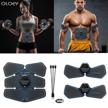 USB Rechargable Wireless EMS Electric Abdominal Muscles Trainer ABS Stimulator Body Weight Loss Massage Gym Belly Arm Fitness