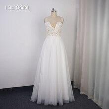فستان زفاف بوهو دانتيل تول A لاين عاري الظهر منخفض فستان حفلات الزفاف ثوب بروفة