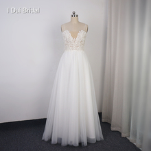 Boho Wedding Dress Lace Tulle A Line Bare Low Back Reception Dress Bridal Gown Rehearsal Wear