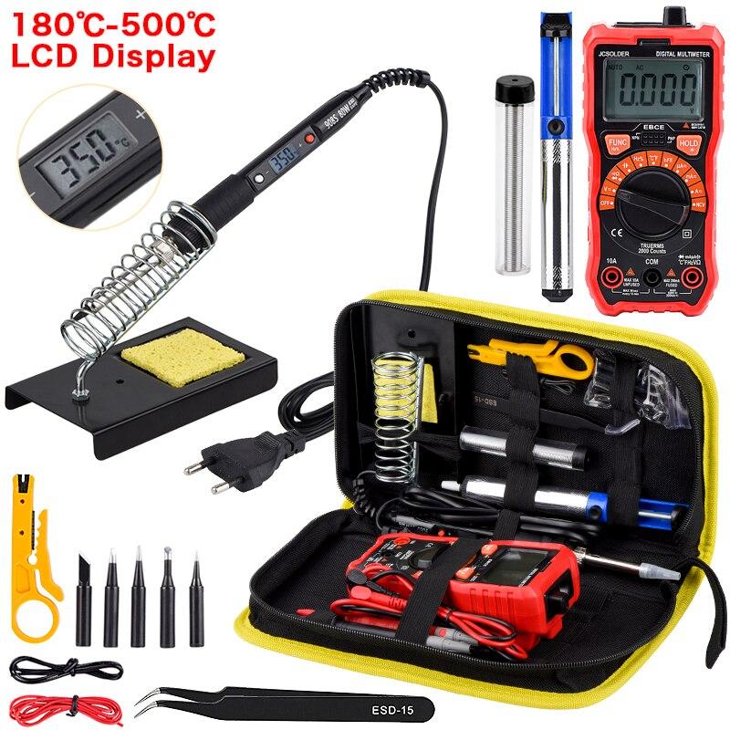 JCD Soldering Iron Kit With Digital Multimeter 6000 Counts AC/DC Voltage Meter Flash Light Solder Iron 80W 220V Welding Tool