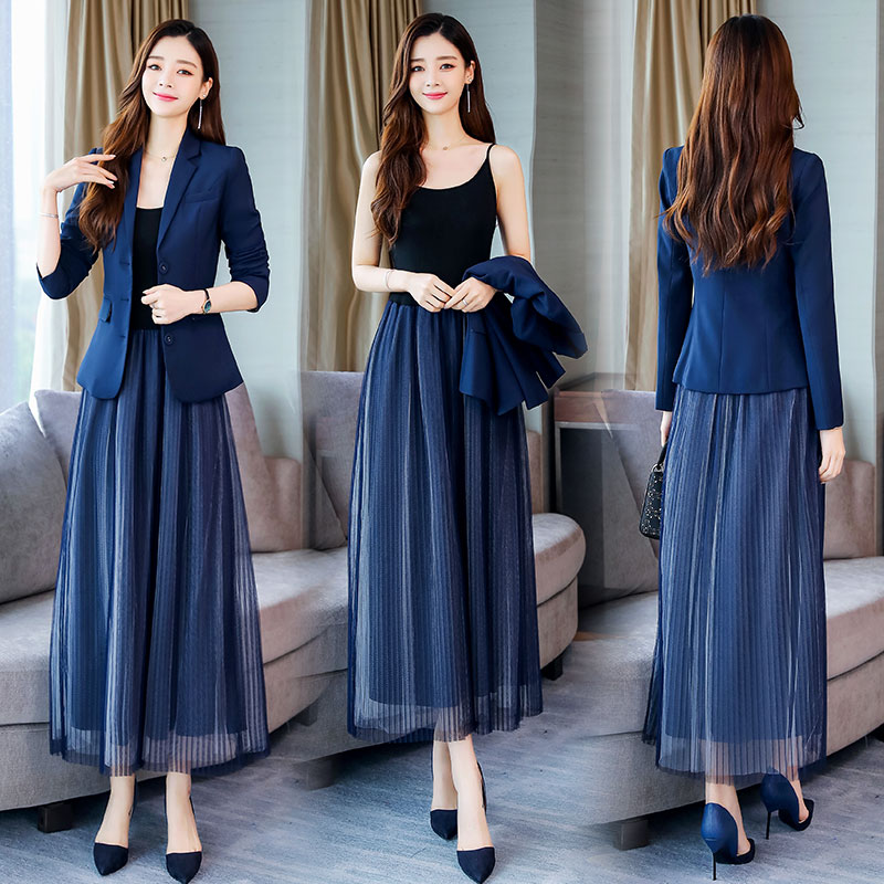 YASUGUOJI New Fall Single Breasted Blazer With Mesh Dress Suits Women Slim 2 Piece Women Suits Office Sets Suit Elegant Women