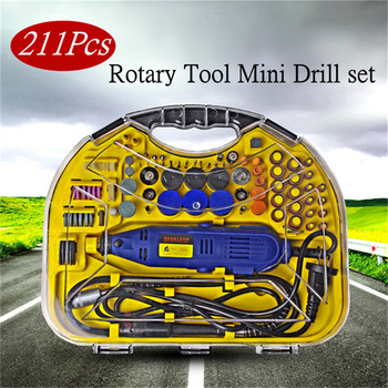 211pcs/Set Electric AC 220V Rotary Mini Drill Grinder Engraver DIY Polisher Power Tools For Dremel Rotary Cutting Polish Tools