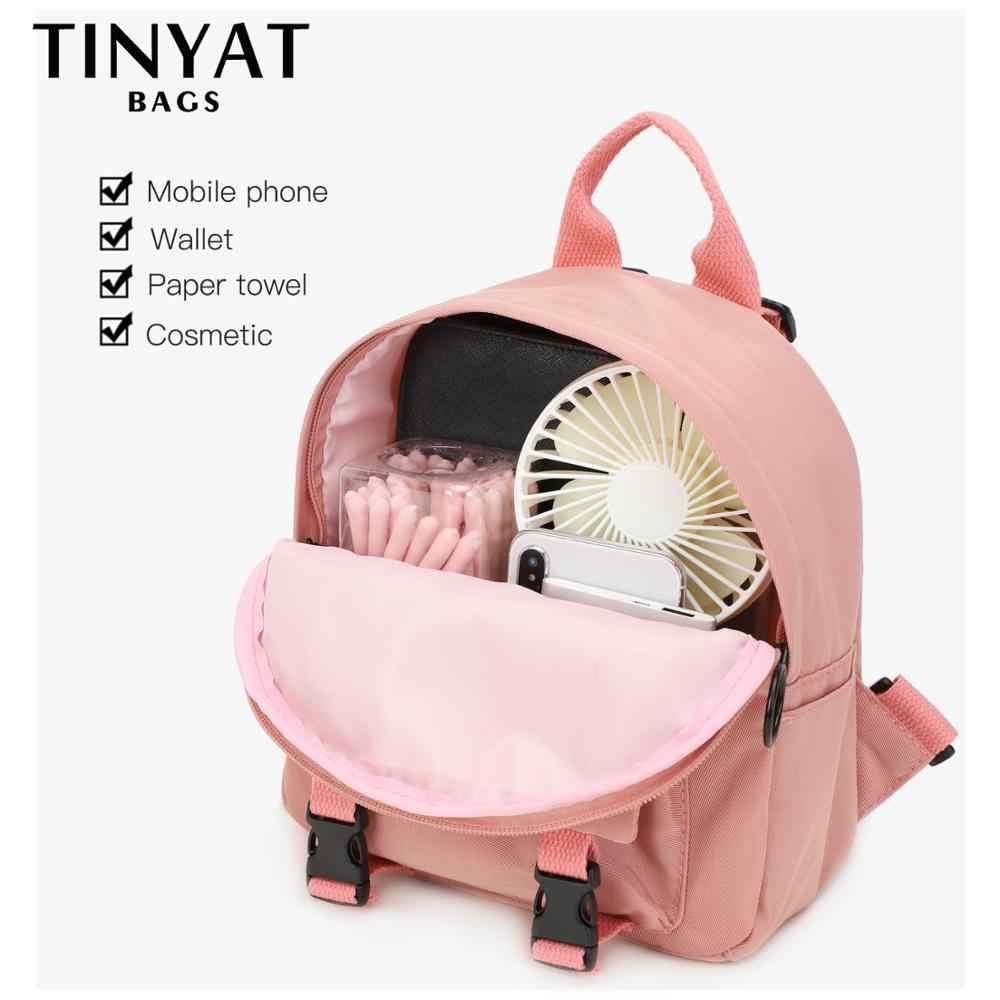 TINYAT Mini plecak kobiety płócienna torba na ramię dla nastoletnich dziewcząt dzieci wielofunkcyjny mały plecak damski plecak szkolny