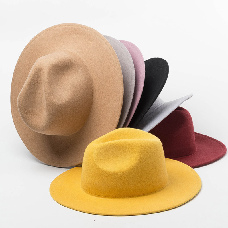 Women Fedora Hat 100% Wool Wide Brim Felt Hats Winter Trilby Cap Crushable Pork Pie Hat Ladies Floppy Church Wedding Hat Base
