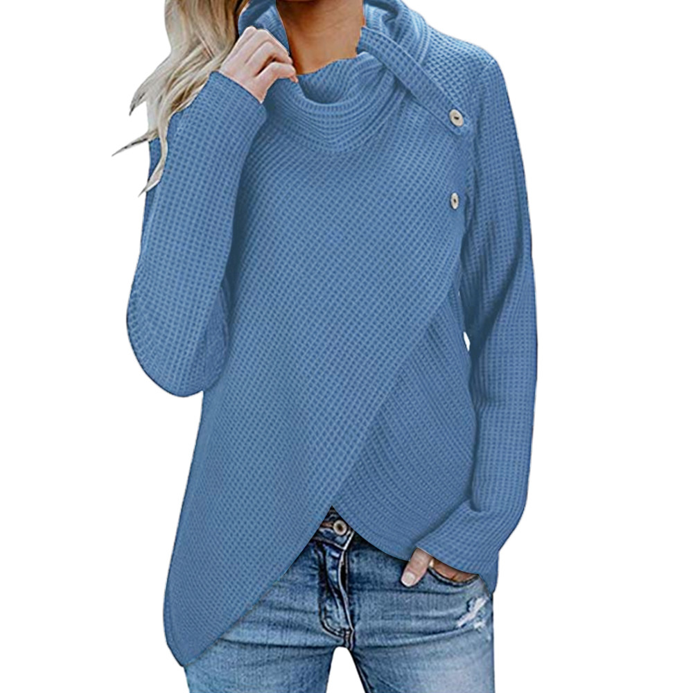 JAYCOSIN Knitted Pullover Sweaters Cowl-Neck Tunic Long-Sleeve Winter Fashion Casual