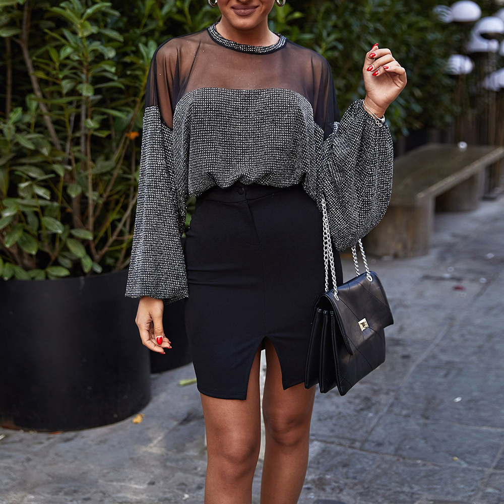 Spring Autumn New Women Sexy Mesh Sheer Patchwork Shirts Fashion Long Lantern Sleeve T-Shirt Perspective Backless Tops D30