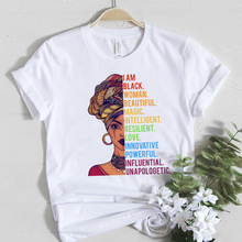 Melanin Queen Female T-shirt I am Black Woman Beautiful Magi