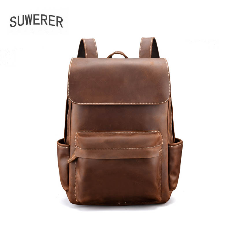 SUWERER 2020 New Genuine Leather Bag Leather backpack retro men's bag real cowhide men's backpack large capacity travel bags