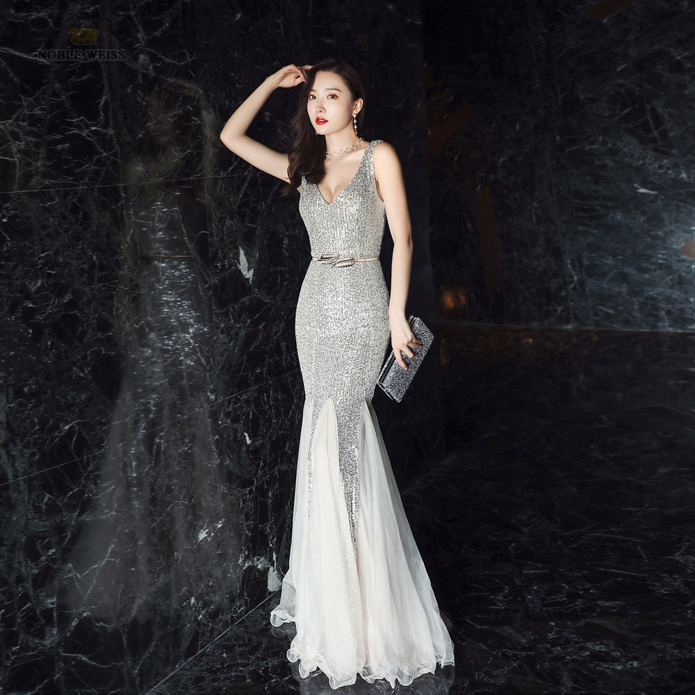 Sexy Prom Dresses Floor-Length In Stock Flexible Sequin V-Neck Mermaid Evening Dresses With Belt