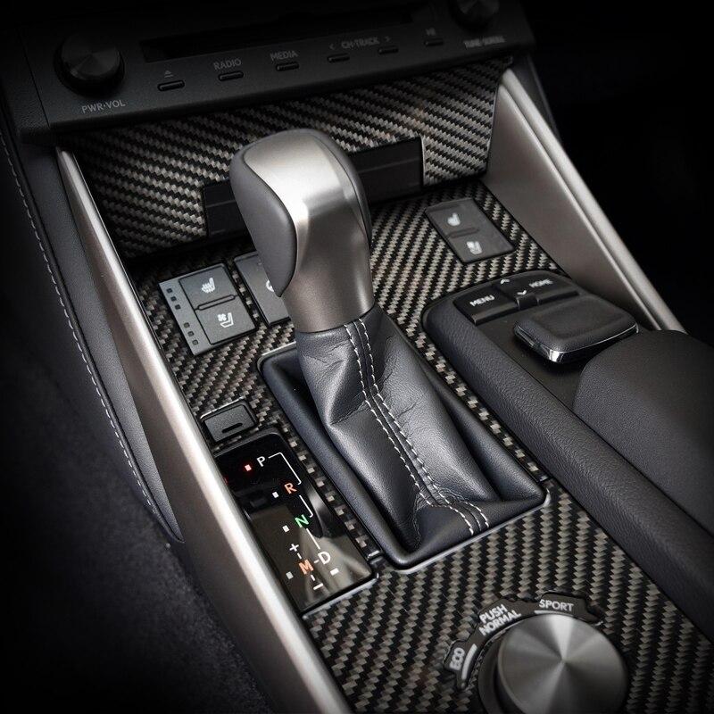Para LEXUS IS250 300H Acessórios Interior De Fibra De Carbono Painel Adesivos Decorativos do Deslocamento de Engrenagem de Controle 2013-2018 Car Styling