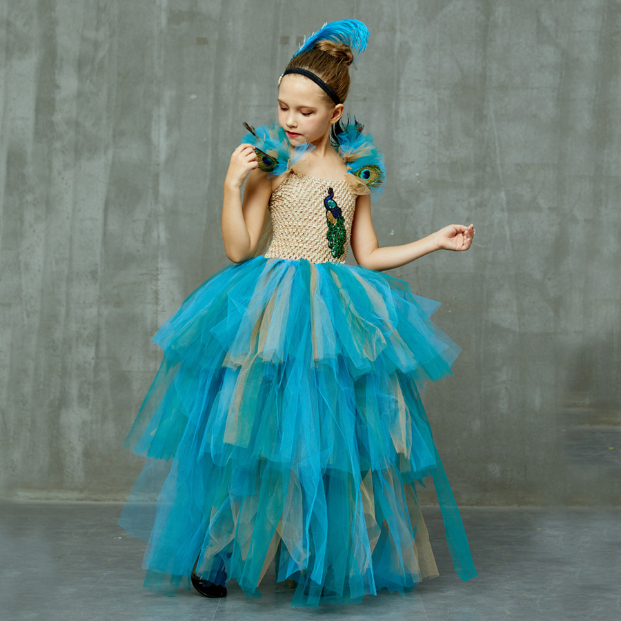 LIMITED EDITION Luxury Girls Peacock Tutu Dress with Matching Headband Multi-layer Kids Pageant Tulle Ball Gowns Peacock Costume (2)