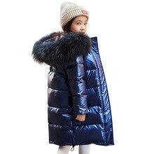 Wysokiej jakości dziewczyny zimowe ciepłe białe kurtki z puchu kaczego dla chłopców wodoodporne ubrania futro naturalne płaszcze z kapturem dla dzieci 30 parka
