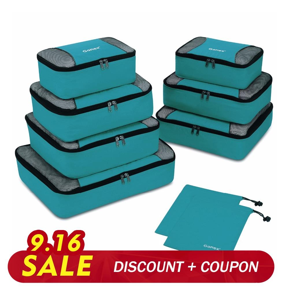 Gonex Travel Storage Bag Set Suitcase Luggage Organizer Hanging Ziplock Closet Clothes Mesh Packing Cubes With Laundry Bag
